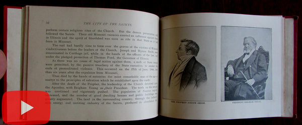 Salt Lake City of Saints Utah Mormon church c.1890's tourist guide book views Cannon