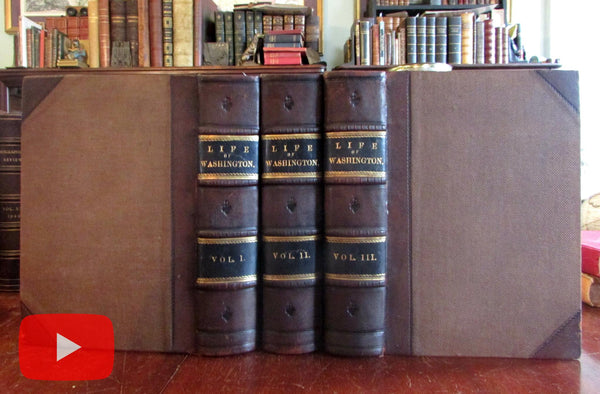 George Washington Life History c.1860 Virtue 3 vol. leather set w/ 80 plates