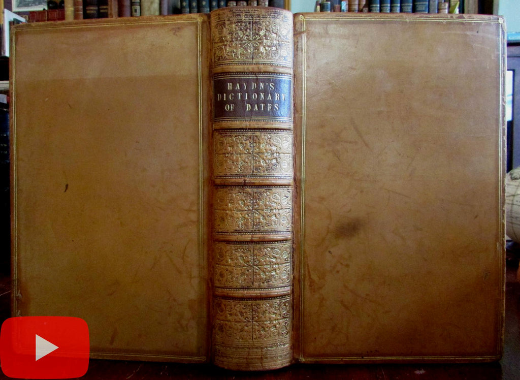 Date Dictionary 1853 Haydn Moxon leather book beautiful gilt British Isles Reference