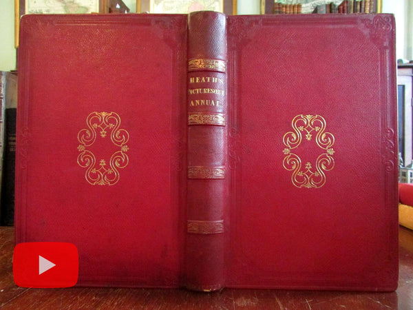 Scotland 1835 Ritchie leather book w/ 21 engraved plates Cattermole lovely example