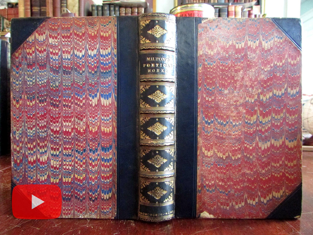 Milton's Poetical Works 1877 beautiful gilt leather illustrated old book