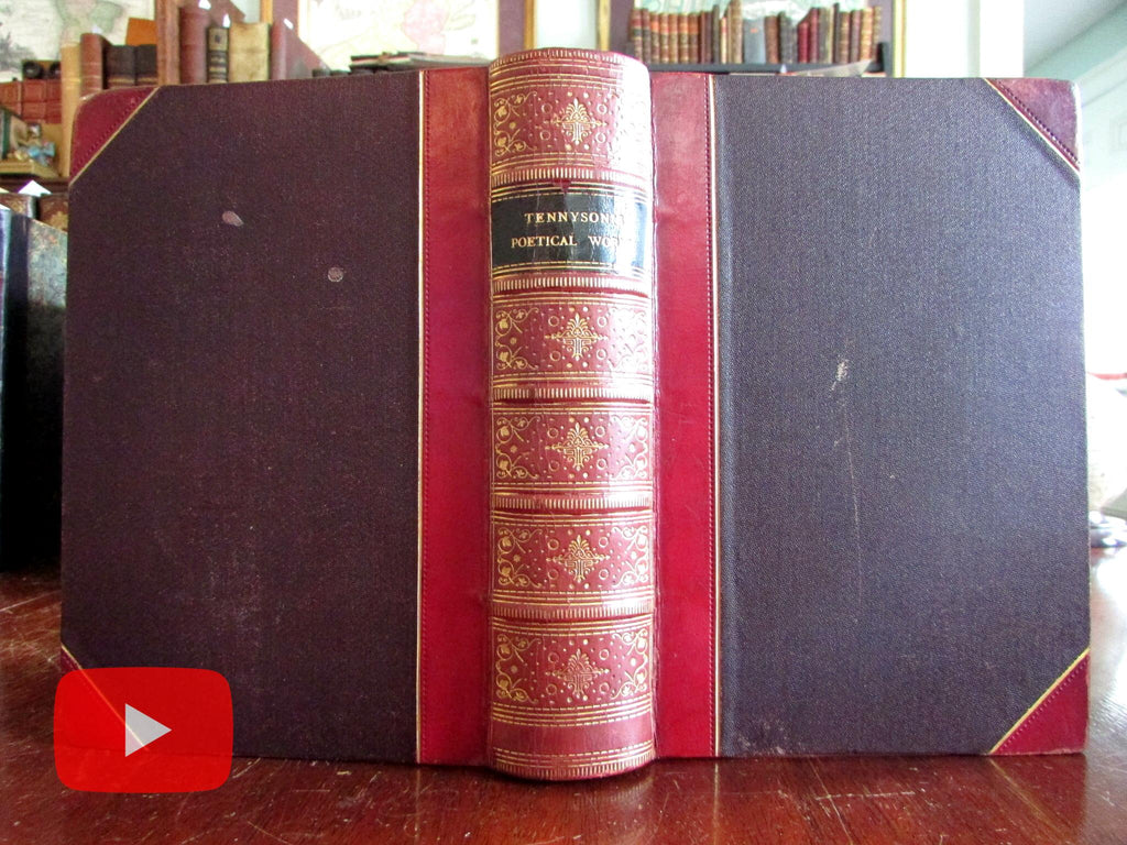 Alfred Lord Tennyson Works 1889 lovely red gilt leather old book engraved portrait