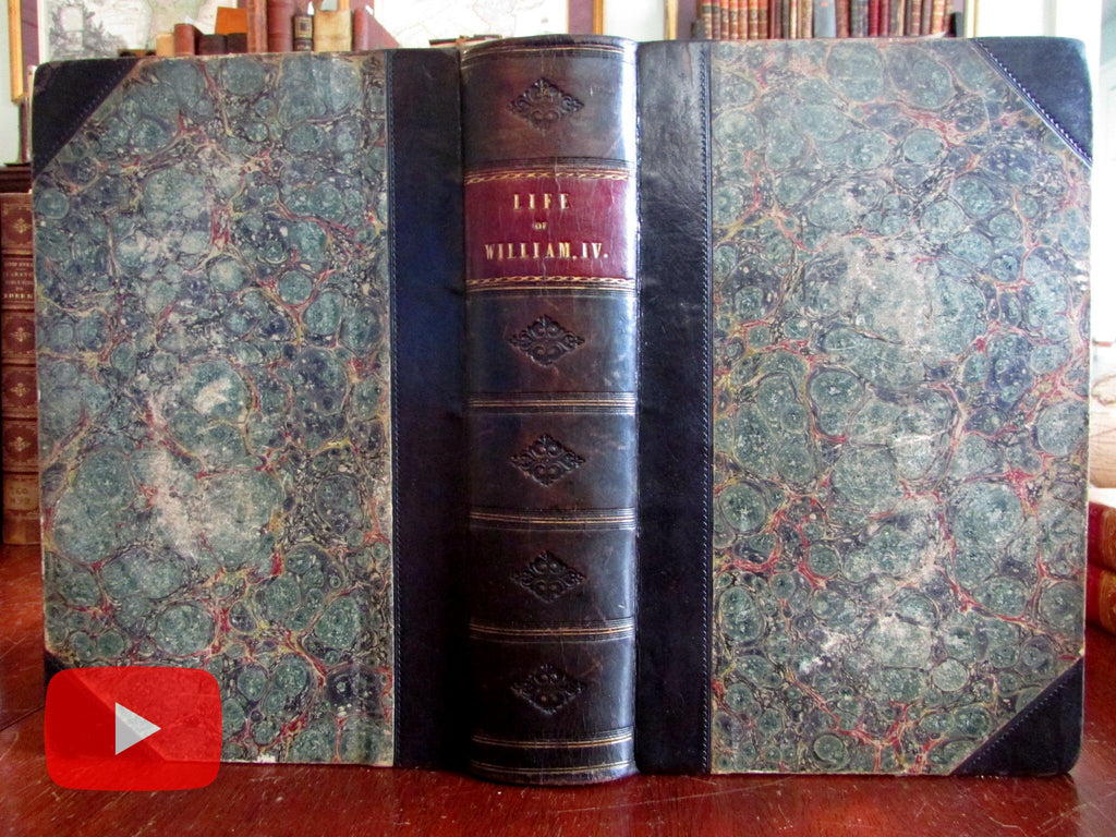 William Fourth King of England Life Reign 1837 leather book 16 plates by Wright
