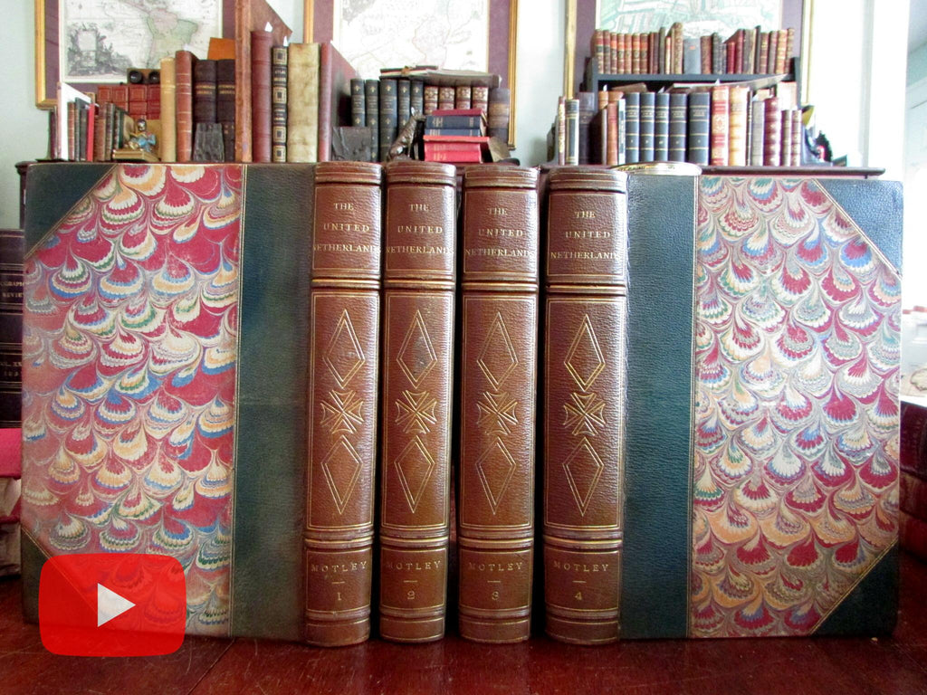 Motley History of United Netherlands 1584-1609 Lovely 4 vol. leather set 1870