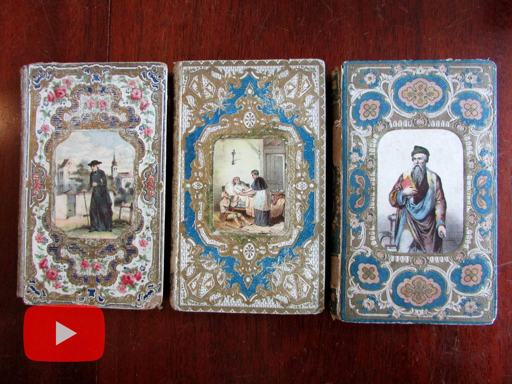 Beautiful book bindings France 1850's French embossed gilt colorful engravings lot x 3