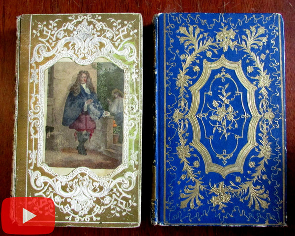 French decorative embossed bindings 1850's Buffon & Florian w/ engravings