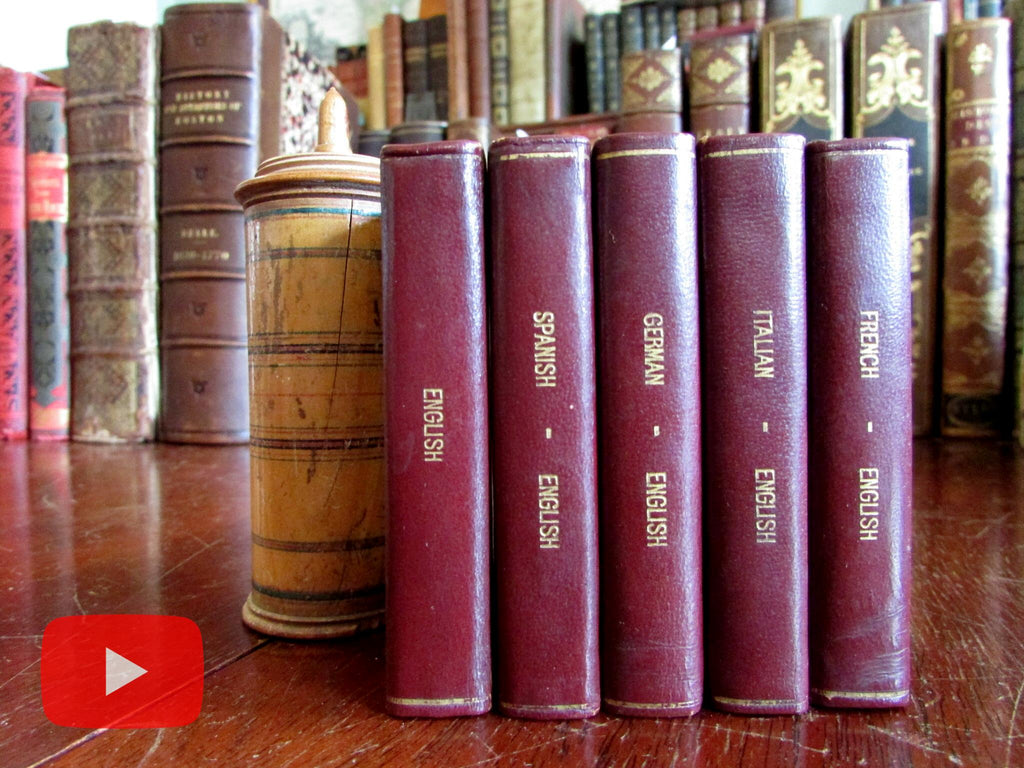 Miniature Midget Dictionaries 1954 London leather books lot of 5 Italian French German
