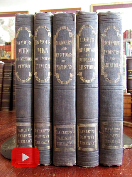Americana 1840's lot of 5 Parley Goodrich books woodcut illustrations Indians History
