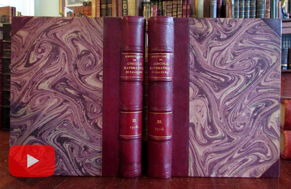 Mathematical Circle of Palermo Italy 1906 set of two lovely early leather books
