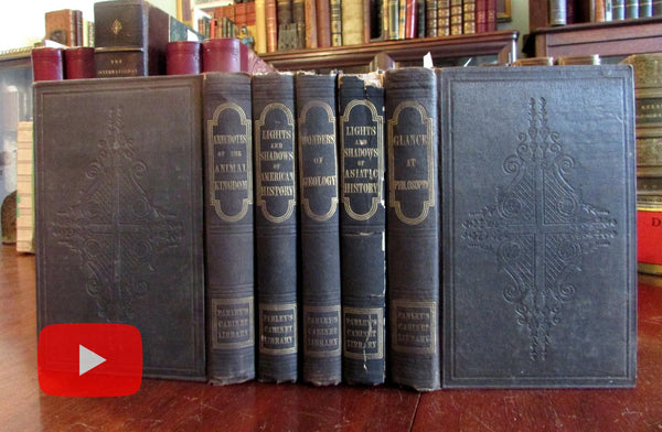 Samuel Goodrich Peter Parley 1840's American books lot x 5 juveniles non-fiction