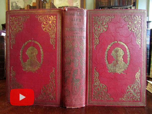 George Washington Life 1859 illustrated hand colored plates Mt. Vernon birds-eye