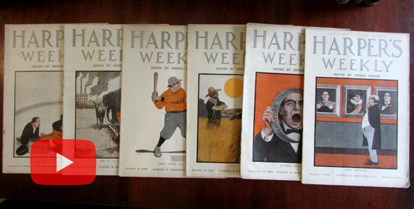 Peter Newell color art covers Harper's Weekly 1908 magazine lot of 6 complete issues