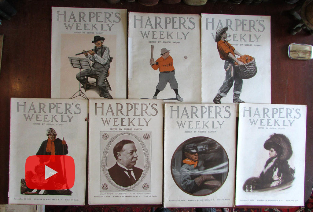 Harper's Weekly magazine 1908 nice lot 7 complete issues color covers politics news