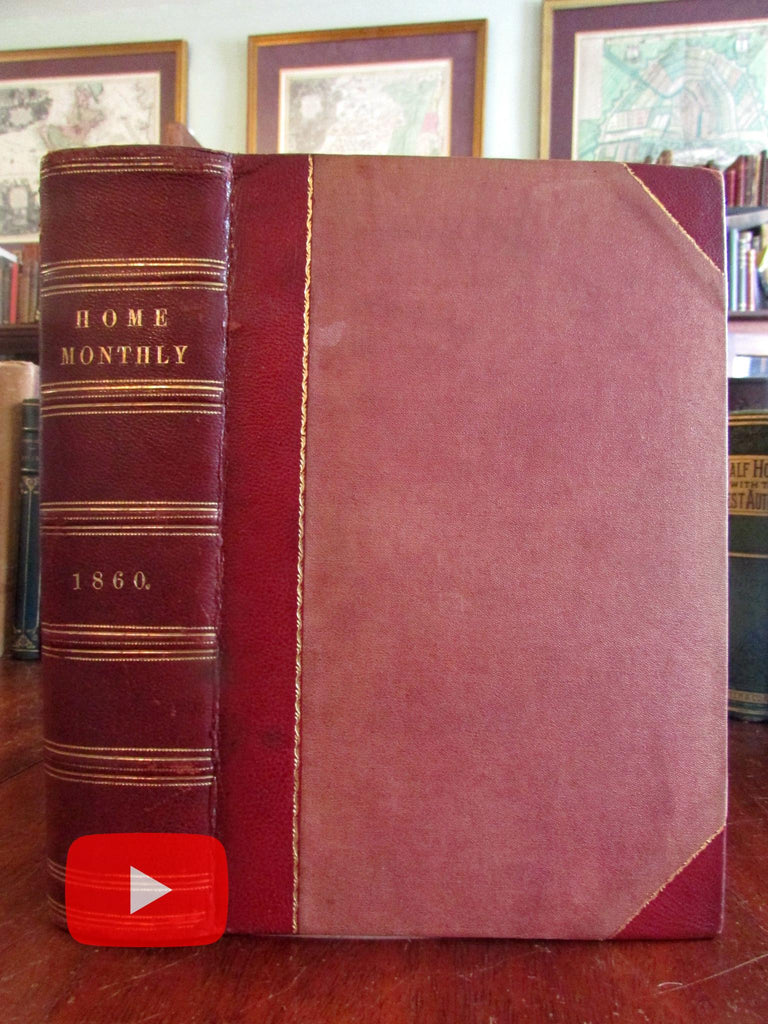 Home Monthly 1860 periodical leather book engraved plates botanical fruits