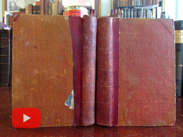 Fables of la Fontaine 1799-1800 set 2 vols French pocket sized leather books