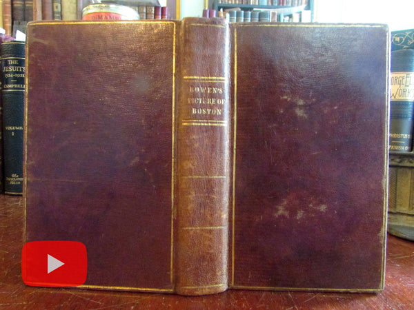 Boston guide book 1838 Bowen leather book pocket size maps views Massachusetts