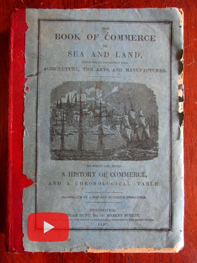 Whale Fishing History of Commerce 1837 woodcuts folding world map Arts Manufacturing