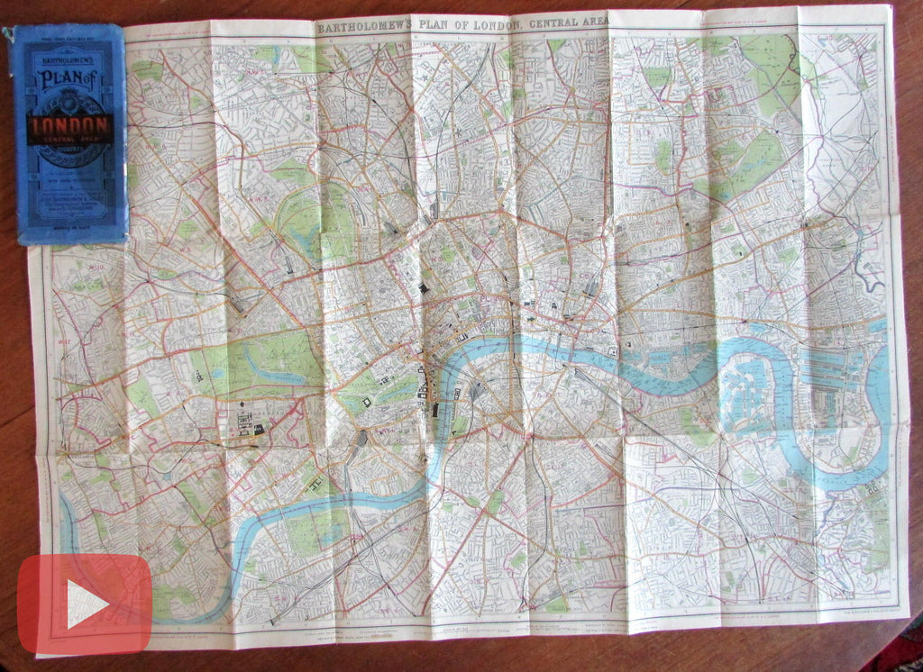 London England city plan c.1930 linen backed large detailed color wonderful