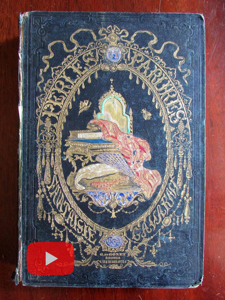 Women Fantasy Joys c.1850 Gavarni book 16 hand colored lace plates decorative