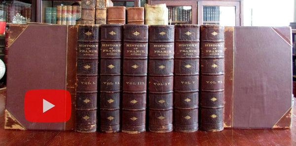 France History c.1870 Guizot fine leather set 6 books w/ 300 engraved images