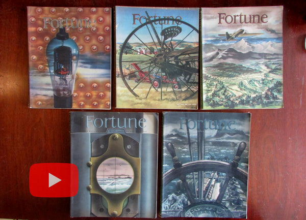 WWII Fortune Magazine 1942-1943 Lot x 5 complete issues color Advertising