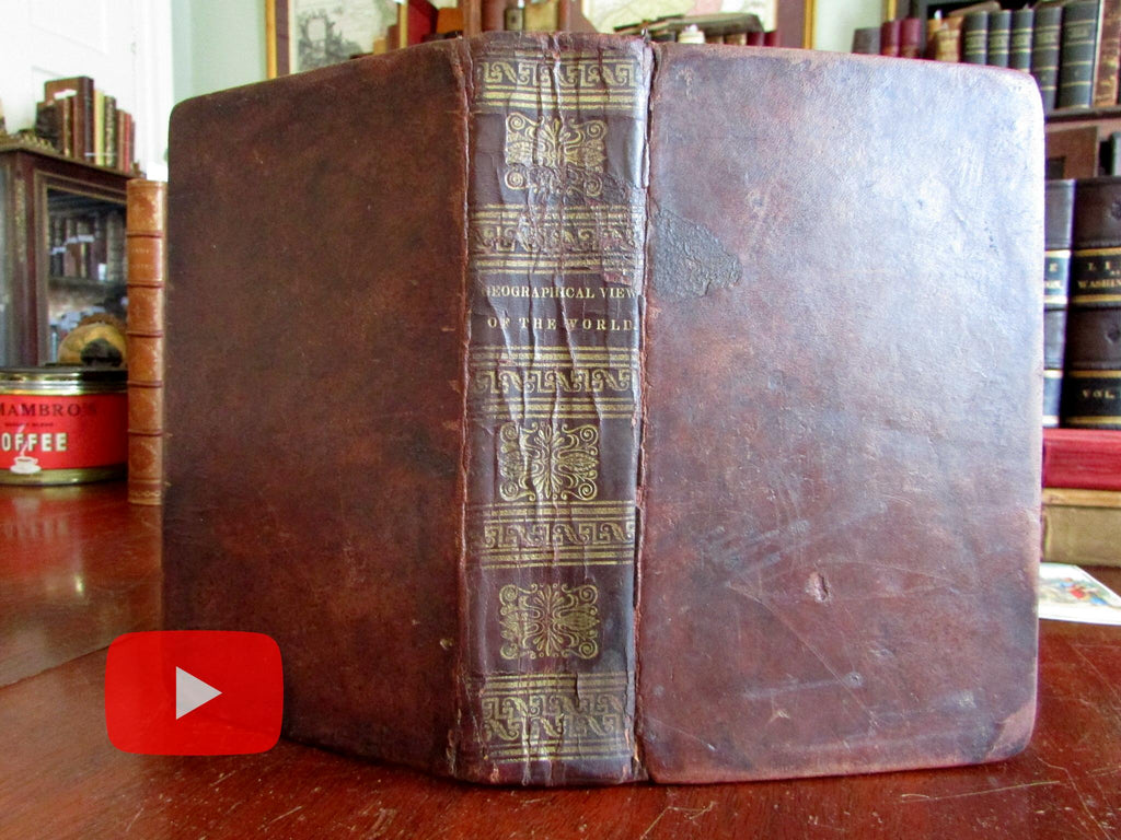 Geography World View of all Nations 1826 Customs & Manners leather book