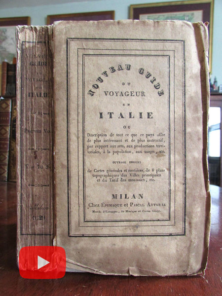 Italy guide book 1829 w/ 9 maps city plans Venice Milan Genoa original wrappers