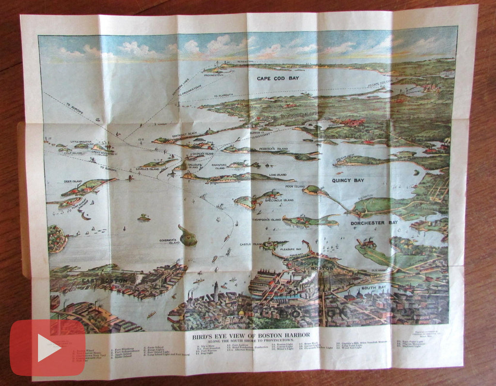 Boston Harbor Massachusetts 1920 detailed panoramic birds-eye view