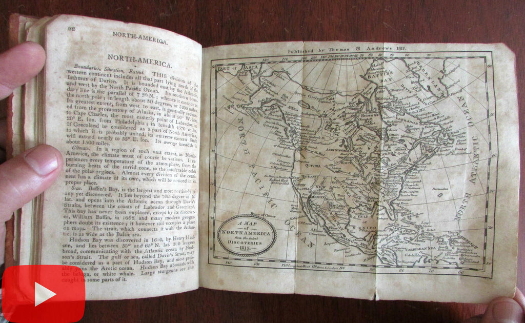 Geography 1818 Jedidiah Morse leather book 2 folding maps North America World
