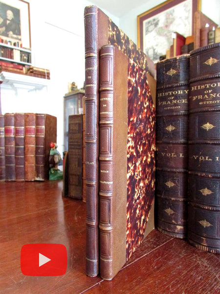 Corneille France French Dramatist 1862 Album & Biography 2 rare leather books