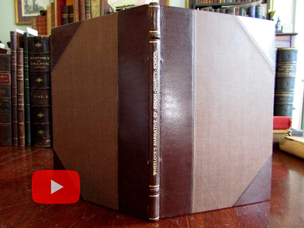 Stikeman leather book c.1900 Wheelock's Narrative Indian Charity School 1762 CT