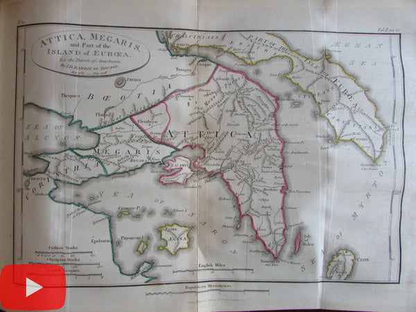 Greece Travels Anacharsis Atlas 1825 with 39 engraved maps views plates