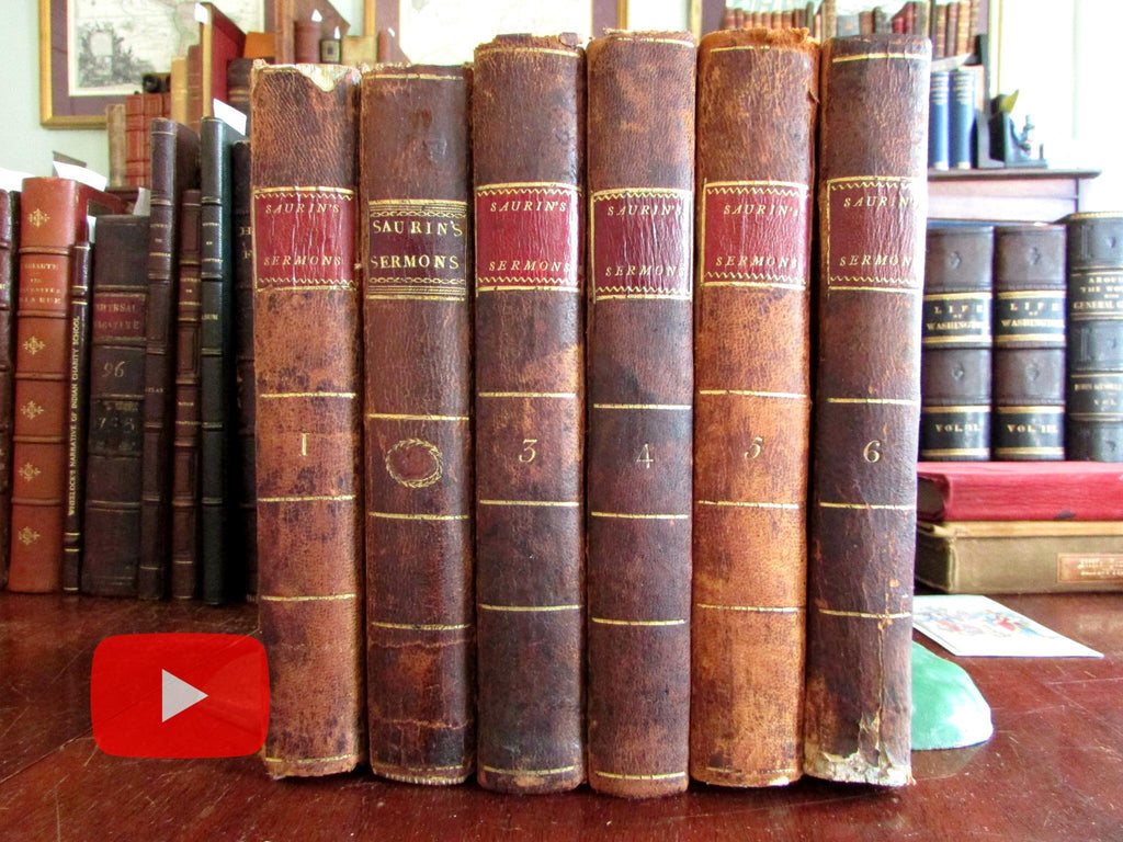 Rev. James Saurin Sermons 1803-7 Robinson NY imprints set 6 leather books unique