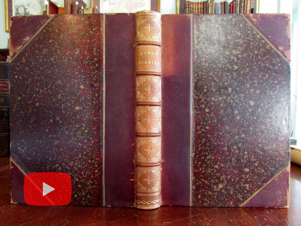 Benjamin Lynde Diaries 1880 rare leather book privately published Mass. Bay Colony