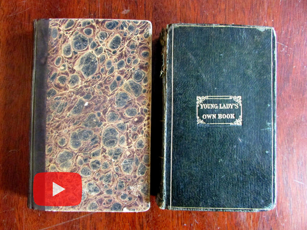 Female Etiquette Personal Conduct Social Behavior 1829-38 pair nice old books Manners