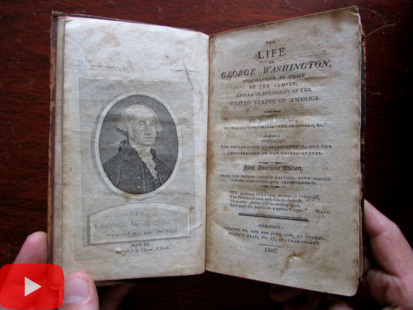 George Washington 1807 Biography Corry book w/ Scoles engraved portrait