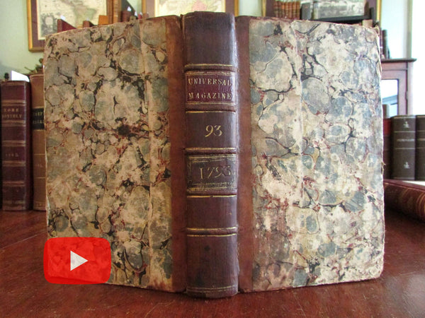Universal London Magazine 1793 bound book 6 issues w/ 5 maps & 6 plates