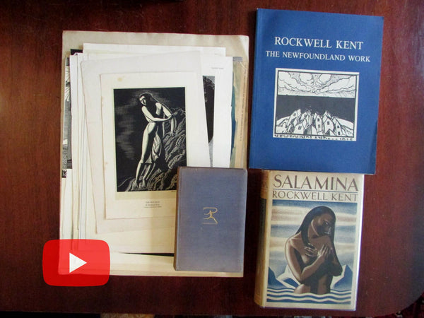 Rockwell Kent 1940 Wilderness signed inscribed book + lot 19 ads 1920's & 3 books