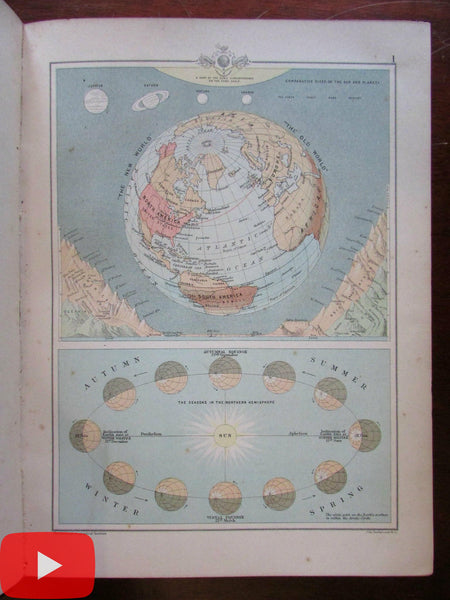 Graphic World Atlas & Gazetteer 1894 Nelson & Bartholomew w/ 128 color maps