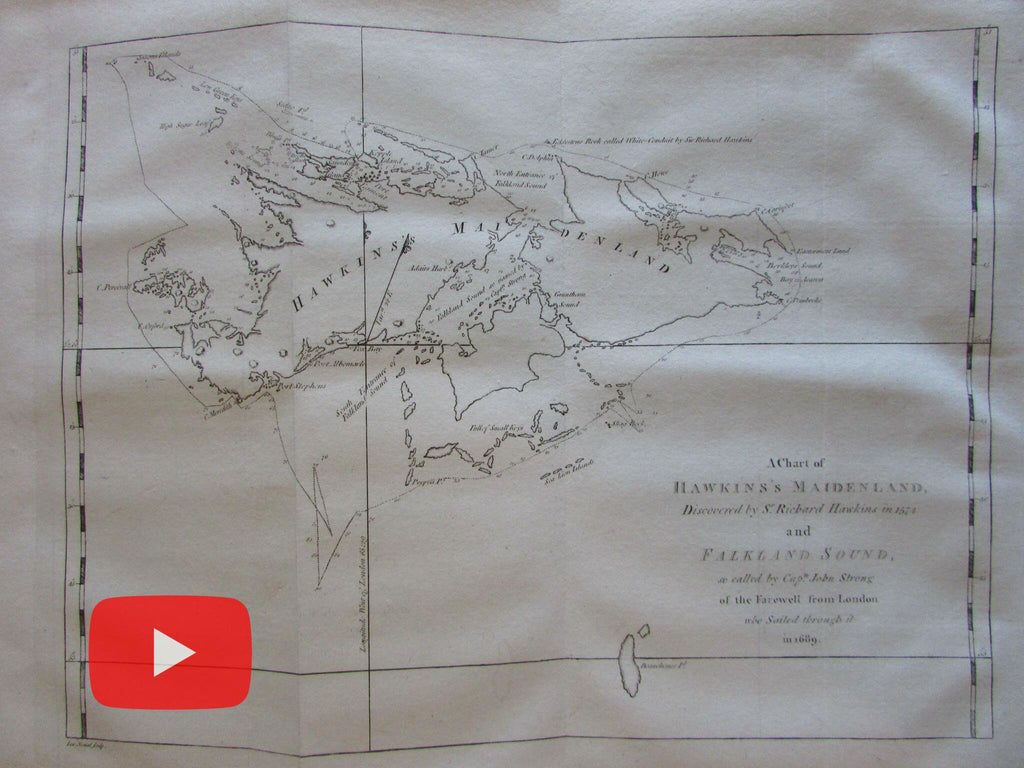 Falkland Islands Hawkins Maidenland 1773 Capt. Cook Hawkesworth map So. America