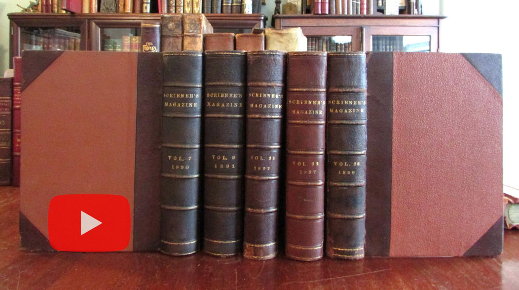 Scribner's Monthly Magazine 1890's illustrated periodical run 5 nice leather books