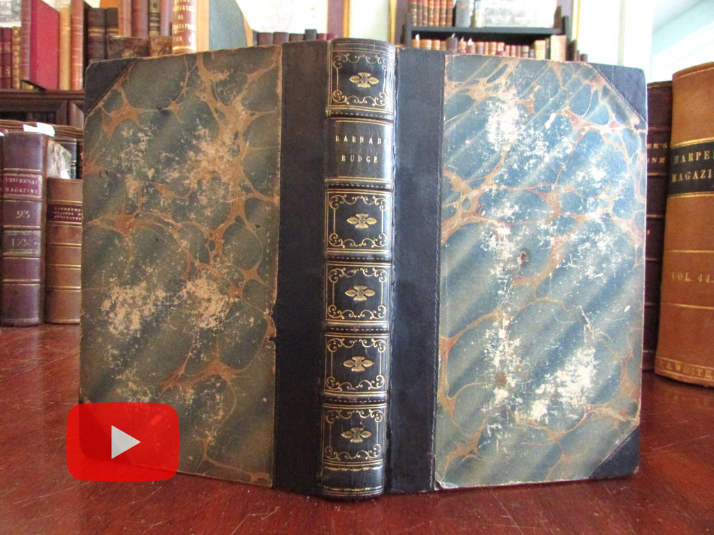 Barnaby Rudge Charles Dickens 1849 Lovely antique leather book gilt spine Browne art