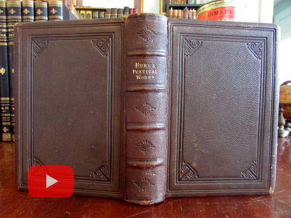 Robert Burns complete works 1881 gift leather book fine binding engraved portrait