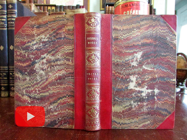 Dickens Oliver Twist 1857 gorgeous period leather binding Cruikshank frontis