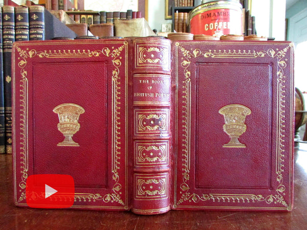 British Poetry & Poets Anthology 1851 beautiful leather gilt book fine binding