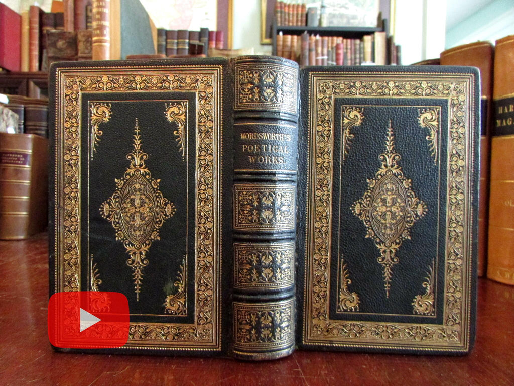 Wordsworth Poetical Works 1860 Gorgeous ornate gilt leather book w/ engravings