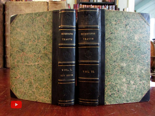 Scientific Tracts 1832-24 fascinating set 2 vols. w/ Pendleton flag lithographs Moon