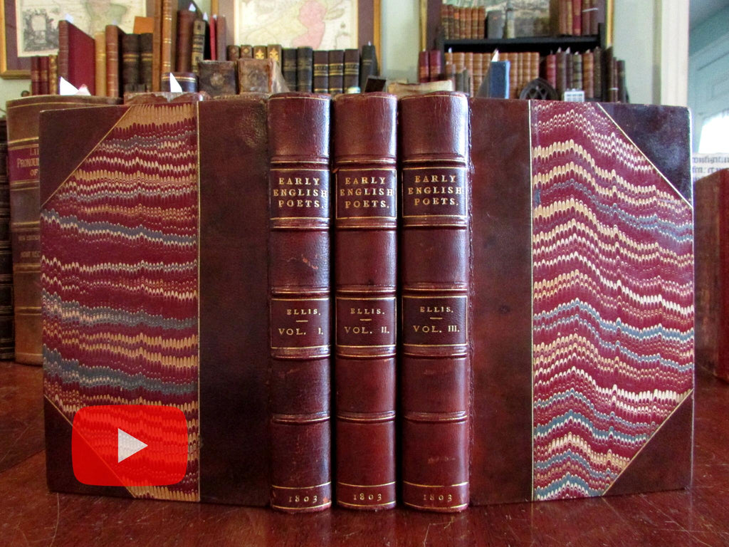 Early English Poets 1803 Ellis Root leather binding set 3 vols England Poetry Anthology