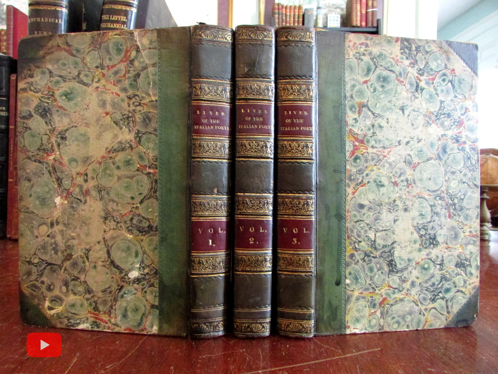 Lives of Italian Poets 1831 Stebbing 3 vol. leather set w/ 20 portraits lovely