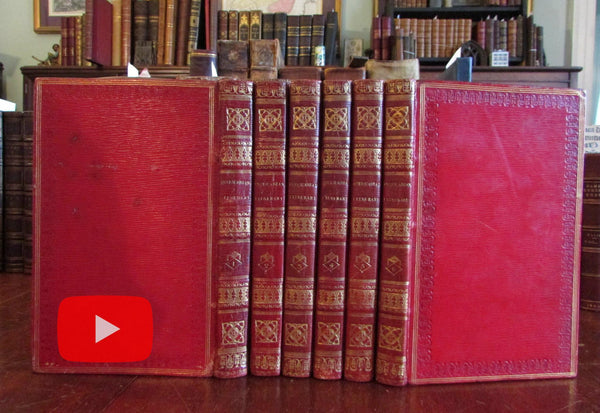 England architecture castles ruins country side 1815-17 set 6 leather books w/ 300 views